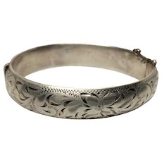 Exquisite Hinged Sterling Bangle Bracelet Engraved