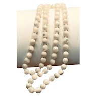 Mother of Pearl Opera Length Bead Necklace