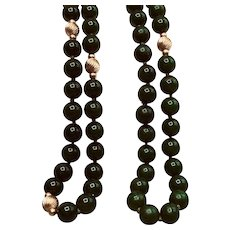 Vintage Jade and Gold Opera Length Necklace