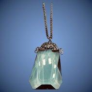 1920-1930 Art Deco Czech Sapphire Glass on Silver Chain
