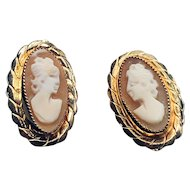 ESTATE: Classic Shell and 14K Yellow Gold Cameo Earrings