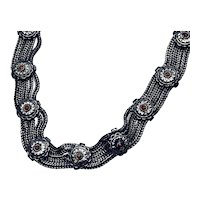 Vintage Necklace with Coral Silver Conchos