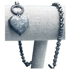 Antique Silver Watch Chain with Heart Fob