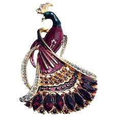 Vintage Colorful Peacock Enamel Statement Brooch