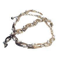 Signed Crown Trifari Demi-parure Bracelet & Necklace