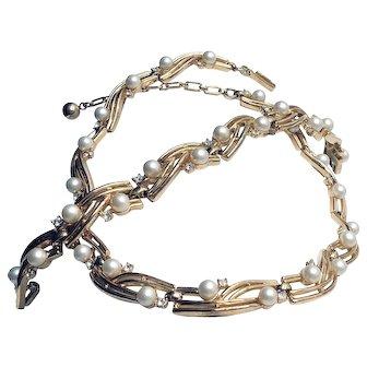 Vintage Signed Crown Trifari Demi-parure Bracelet & Necklace