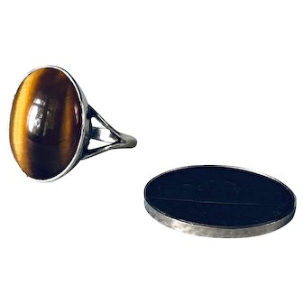 Vintage Tigers Eye Silver Ring