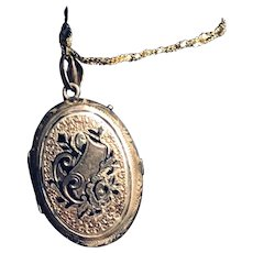 Victorian Enamel and Hand-chased Gold Locket and Chain