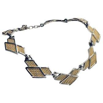 Vintage Signed Bogoff 1940s Yellow Enamel Necklace