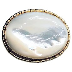 Vintage 14K Mother-of-Pearl with Clouds Brooch