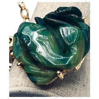 Vintage Signed Crown Trifari Faux Jade Koi Necklace