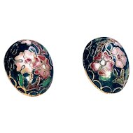 Vintage Oval Green Cloisonne Chinese Earrings