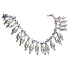 Vintage Signed Lisner Pearls and Aurora Borealis Crystals Necklace