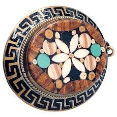 Antique Pietra Dura Gold-filled Greek Key Bordered Locket