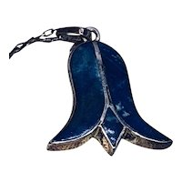 Vintage Lapis Lazuli Sterling Silver Tulip Pendant Necklace