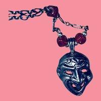 Art Deco Silver Carnelian Comedy-Tragedy - EXTRAORDINARY Item