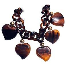 1960s Faux Tortoise Sweetheart Necklace