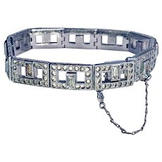 1920-1930s Art Deco Signed Parisienne Rectangle Link Paste Wedding Bracelet