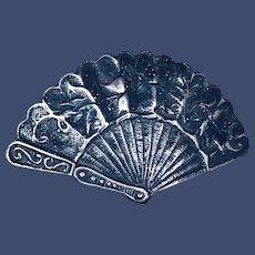 Vintage Sterling Spanish Dance Fan Pendant-Brooch
