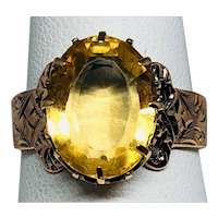 Estate: Victorian 1900s 14K Rose Gold and Sunset Yellow Citrine Ring