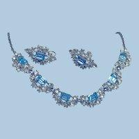 1950s Signed Bogoff Blue Emerald Cut Rhinestone Necklace & Earrings