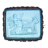 Blue Pate de Verre Pinchbeck Brooch - Putti Driving Chariot with Goats