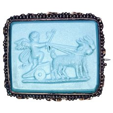Marine Blue Glass and Pinchbeck Brooch - Putti Driving Chariot Drawn by Goats