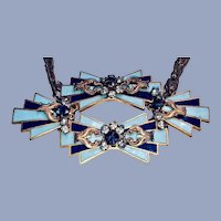 Signed Miriam Haskell Enamel Gilt Necklace