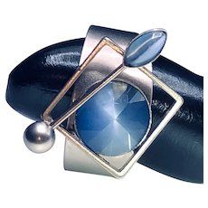 Aluminum and Faux Moonstone Glass Ring - Great Pinky Ring