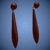 Victorian 9K Black Enamel Earrings