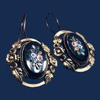 Italian Pietra Dura Goldfilled Earrings