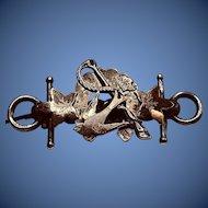 Antique Hallmarked English 19th Century Silver Rose Gold Horseshoe Brooch