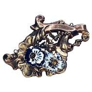 Antique Art Nouveau 14K Enamel Pansy Brooch