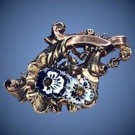 Art Nouveau 14K Enamel Pansy Brooch