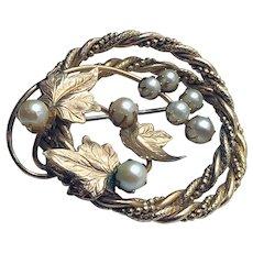 Vintage Gold-filled Pearl Brooch