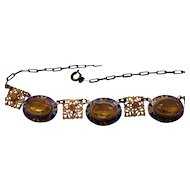 Art Deco Necklace Gilded Enamel Decorated
