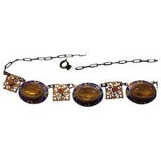 Art Deco Necklace Gilded Enamel Decorated