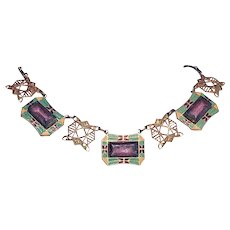 1920s Art Deco Czech Glass Enamel Neiger-like Necklace