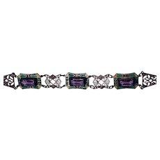 1920s Art Deco Czech Glass Enamel Neiger-like Bracelet