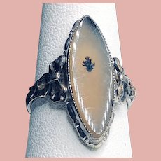 Arts and Crafts Sterling & 10K Marquis Cut Dendritic Ring