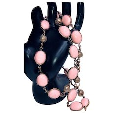 Vintage Signed Crown Trifari Pink Lucite Necklace - 1950s