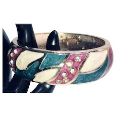 Colorful Enamel and Rhinestone Unsigned Florenza Bangle