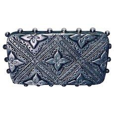 Antique Victorian Aesthetic Period Silver Secret Locket Brooch C.1880s