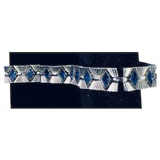 Vintage Signed Crown Trifari Blue Silver Bracelet
