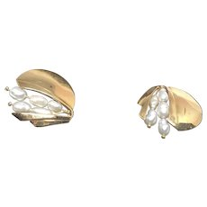 ESTATE: 14k Yellow Gold Round Fancy Pearl Stud Earrings