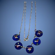 Art Deco Art Glass Dangle Necklace