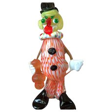 Vintage Handblown Glass Art Clown