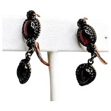 Vintage Garnet Dangle Rose Gold Vermeil Earrings
