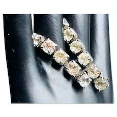 Rhinestone Pierced Dangle Earrings - 1940s