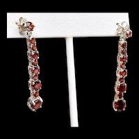 Long Garnet Sterling Earrings